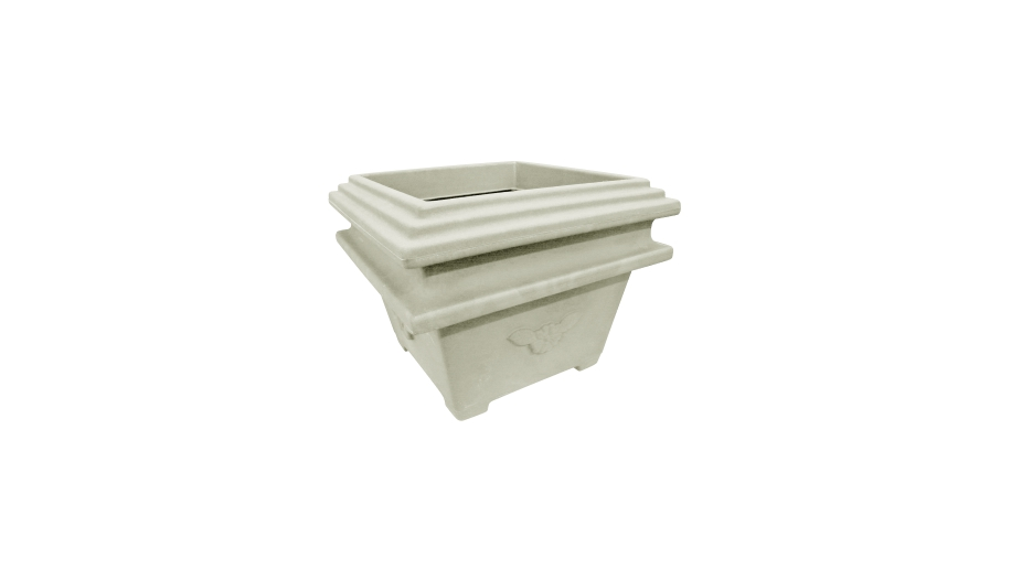 Square Planter Double Edge With Rose
